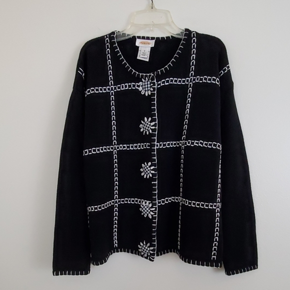 Talbots Sweaters - Talbots Black & White Cardigan Sweater - M